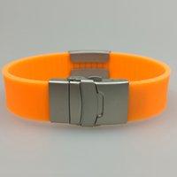 Luxo Designer Jóias Silicone Medical Emergy Allergy ID Bracelet com fecho de metal e placa para gravura