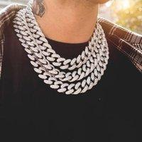 Cadenas de Rhinestone Bling Bling Silver Golden Finish Miami Cuban Link Cadena Cadena Collar de 15 mm Hombre Hip Hop Collar Joyería 210 Q2