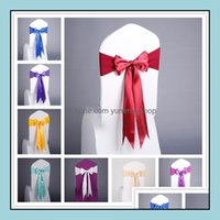 Ers Textiles Home & Garden17 Colors Spandex Sashes Lace-Up Elastic Er Chair Band With Silk Bow For Event Party Wedding Decoration Supplies D