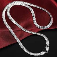Collana a catena in argento sterling 925 6mm full lateralmente Collana cubana Collana cubana per donna uomo moda gioielli di fidanzamento da sposa 50 cm