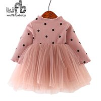 Venta al por menor 0-3 años Niña para niños de manga larga más Vestido de terciopelo Malla de bebé Princess Vestido otoño otoño invierno q0716
