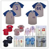NCAA Men Hank Aaron Dale Murphy Jersey 2018 Зал славы Atlanta Milwaukee ретро бейсбол пуловер рубашка крем синий красный серый военно-морской флот