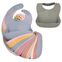 Младенческий силиконовый нагрудник Bab Babs Ribs сплошной цвет водонепроницаемый дети силиконовые нагрудники детские слюны рисовые карманы материнские младенческие продукты YL425