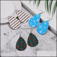 매력 쥬얼리 29 컬러 패션 크리스마스 트리 PU 가죽 여성을위한 눈송이 성격 귀걸이 물 매달려 귀걸이 쥬얼리 선물 드롭 델리