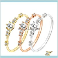 Wedding Jewelry Fashion Women Ring Finger Jewelry Rose Gold  Sliver  Gold Color Rhinestone Crystal Rings 4 5 6 7 8 9 10 11 Size Drop Deliver