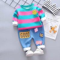 Bebek Kız Erkek Giyim Setleri İlkbahar Sonbahar Kış Bebek Peluş Şerit Kazak Pantolon Çocuk Çocuk Giysileri Kıyafet