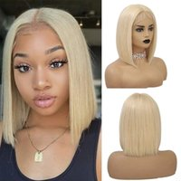 T Part 613 Human Hair Blonde Wig With Baby Hair Silky Straight Brazilian Rmy Short Bob Lace Frontal Wigs For Black Women Pre Plucked Natural Hairline