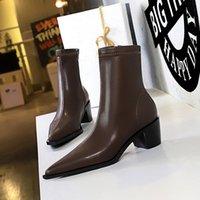 Quality fashion leather star women Designer boots martin short autumn winter ankle Exquisite woman shoes cowboy booties bagshoe 5.5cm size34-40