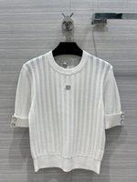 Maglione di runway di Milano 2021 maniche corte O collo maglioni da donna Elescenziali jacquard pullover donna Designer maglione 0314-9