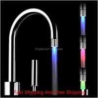 Temperature Control 3 Color Faucet Lamp Led Colorful Change Luminous Shower Head Kitchen Faucet Kitchen Bathroom Products# 15 Uqopd Cfkj2