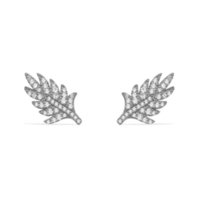 Luxury brand 925 Sterling Silver black gray feather earring earrings studded cubic zirconia CZ jewelry for women