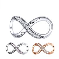 Real 925 Sterling Silver Braccialetto Ciondolo Ciondoli Charms Girl Accessori Endless Love Forma Infinity Family Forever Clear Zircon Crystal Charm Gifts Commercio all'ingrosso Bijoux