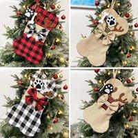 Pet Dog Bones Pendentif Christmas Pendentif Buffalo Chaussettes Plaid Sac cadeau Sac de cadeau de Noël Décorations HWD10056
