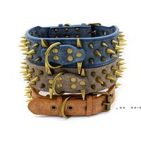 Bronzespike Haustier Hund Halsbänder Wear-Resistent PU Große Retro Rivet Collar 3 Farben FWE9797