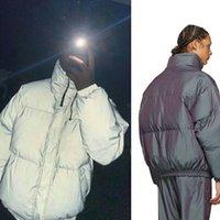 Essentials Aşağı Sıcak Puffer Ceketler Temel Lazer Yansıtıcı Korku Renkli Standı Yaka INS Açık Kalın Parkas Pamuk Tanrı Kış Ceket Ceket Sis Bayan