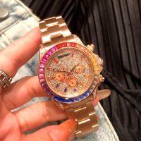 Красочные драгоценные кольца мужские часы Полностью автоматические механические часы Высокое качество Нержавеющая наручные часы для мужчин роскошные радуги алмазные женские eta3135 Montre de luxe
