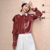 Женщины Блузки Рубашки Вельхат Повседневная Блузка Сплошная Цветная Рубашка Pete Pan Воротник Топы Tees Свободные Flare Рукав Для Женщин Одежда XZ735