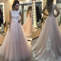 2022 Blush Pink Wedding Dresses Bridal Gown A Line Scalloped Neck Lace Applique Sweep Train Backless Corset Back Tulle Custom Made Plus Size vestidos de novia