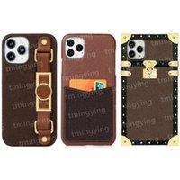 Top Lederen Designer Phone Cases voor iPhone 12 Pro Max Mini 11 XS XR X 8 7 Plus Fashion Polsband Print Back Cover Luxe Mobiele Shell Kaarthouder Pocket Case met doos
