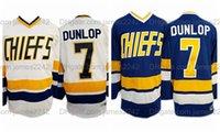 Nave de EE. UU. Dunlop # 7 Hockey Jersey Charlestown Chiefs Slap Shot Movie Men Hanson Brothers Todos cosidos S-3XL de alta calidad