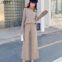 Jxmyy maglione a due pezzi donne 2021 autunno e inverno alto collo allentato spessa spessa maglia pigra moda larga gamba pantaloni vestito donne tendenza