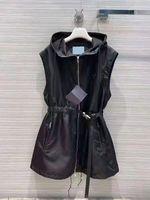 Женская куртка Жилет длинный с рукавами с капюшоном с капюшоном рукава удалить пальто с ремень для леди тонкий пиджак белый и черный Размер двух варианта S-L