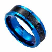결혼 반지 8mm 블루 텅스텐 카바이드 링 블랙 셀 틱 드래곤 인레이 망 쥬얼리 밴드 크기 6-13