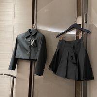 디자이너 여성 Clothing2021ss 틈새 디자인 느낌 메쉬 질감 달콤한 연령 감소 긴 소매 슈트 코트 주름진 치마 양복