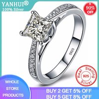 Cluster Rings YANHUI Exquisite Princess Cut Zirconia Diamond Wedding Ring Women 925 Sterling Silver Jewelry Gifts For Ladies JZ027