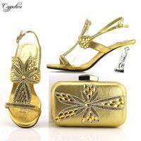 Dress Shoes Luxury Gold High Heel And Evening Bag Set Ladies Matching Sandals With Handbag Italian Design Pumps Clutch 7438 Height 8cm