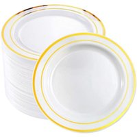 Disposable Dinnerware 25Pcs Golden Plastic Tableware Plate Wedding Gift Birthday Party Supplies