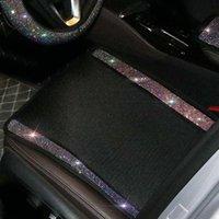 Car Seat Covers Colorful Rhinestones Universal Ice Silk Mesh Auto Cushion Four Seasons Diamond Pad Interior Accessories
