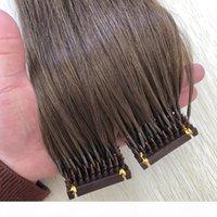 Doppelt gezeichnete 6D Haarverlängerung 0.5g Stränge 200 stands lot hellbraun # 6 farbe 6d menschliche haarverlängerung fabrik liefern