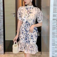 Casual Dresses 2021 Spring French Niche Blue And White Porcelain Lady Robes Temperament Waist Thin Puff Sleeve Floral Dress Vestido
