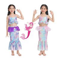 Kızlar Iki Parçalı Mermaid Mayo Moda Ruffles Tasarımcı Askı Bikini Seti 2-10 T Çocuklar Prenses Mayo 3 Renk