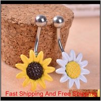 Gofuly Nuovo Top Brand Sunflower Flower Chirurgical Belly Belly Bottone ANELLO ANELLO PIERCING NAEL Body Best HQYQ1 YQBH2