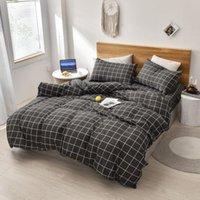 Conjuntos de ropa de cama Conjunto simple Plaid Quilt Cover Stripe Pillowcase Cómodo Hogar Producto transpirable ropa de cama suave para el hogar