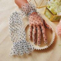 Kurze hochzeit handschuhe für braut weiß schwarz dot spitze tüll gaze transparent brauthandschuhe frauen party prom kleider mesh handschuhe