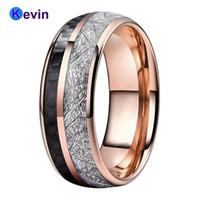 Розовое золото вольфрамовая свадьба мужские женские кольца с черным углеродным волокном и яркой метеорностью вкладка 8 мм комфорта Fit 210310
