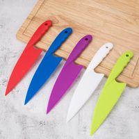 DIY سكين المطبخ للأطفال saftey سكين الخس سلطة سكين المسنن البلاستيك القاطع القطاعة كعكة الخبز كعكة أدوات BWA4037