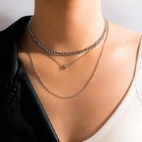Chains Sindlan 3Layer Punk Silver Color Chain Heart Pendant Necklace For Women Hip Hop Geometric Set Couple EMO Fashion JEwelry Collar
