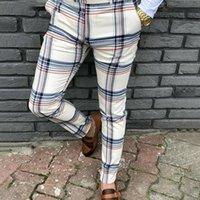 Erkek pantolon moda erkekler ekose uzun ince pantolon baskı eşofman dipleri skinny casual mens joggers ter parça pantolon harem