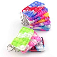 Push Pop Bubble Silicone Keychain Fidget Sensory Toys Kids Mental Arithmetic Puzzle Toy Tie Dye Finger Popper Fun Puzzle Stress Relief 19