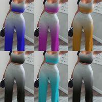Kadın Yaz Iki Parçalı Giyim Seti Kıyafetler Tasarımcı Eşofman Kolsuz Tshirt Kırpma Pantolon Tops Moda Seksi Degrade Renk H2516