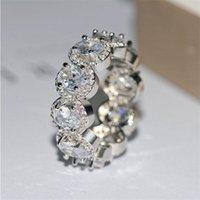 Chispeante vender joyería de lujo 925 stelring stelring plateado oval corte blanco topaz cz diamante eternidad fiesta mujer boda novia anillo conjunto regalo