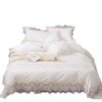 مجموعات الفراش الأبيض الأميرة نمط النوم ورقة غطاء لحاف القطن الخالص أربعة قطعة مجموعة 100 سرير تنورة الدانتيل النساء