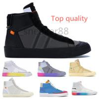 Off-White x Nike Blazer OW Sıcak 2021 Mens MID 2.0 Spooky Grim Reepers Tüm Yadigarları Havva Beyaz Serena Williams Gökkuşağı Kadın Rahat Ayakkabılar Blazers Siyah Boyutu 36-45