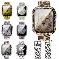 Soft Silicone Sport Pattern Printed Straps Apple Watch Band 38mm 44mm 40mm 42mm For women With Ultra-Thin Glass Screen Protector Case iWatch Series 6 5 4 3 2 Se