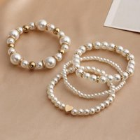 Link, Chain 4pcs  Set Imitation Pearl Bracelets For Women Multi Layer Heart Beaded Stretch Strand Bridesmaid,Bridal,Party Gift