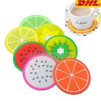6 Styles Fruit Silicone Coaster Mats Pattern Colorful Round Cup Cushion Holder Thick Drink Tableware Coasters Mug DHL Free Delivery
